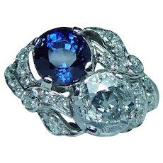 Art Deco Tiffany & Co Platinum Sapphire Old European Diamond Toi et Moi Ring GIA