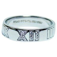 Tiffany & Co. Atlas Diamond Ring Band 18K White Gold size 8.5