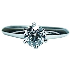 Tiffany & Co Platinum .41ct Diamond Engagement Ring Tiffany Certified Appraisal