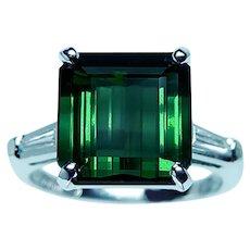 Vintage Tourmaline Baguette Diamond 3 stone Ring Platinum 8.5ct