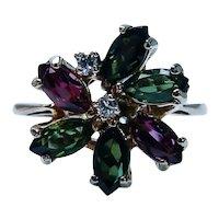 Vintage Green Pink Rubellite Tourmaline Diamond Ring 14K Gold Designer Signed