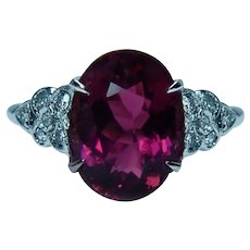 Vintage Rubellite Tourmaline Diamond Ring Platinum Estate 4.5ct