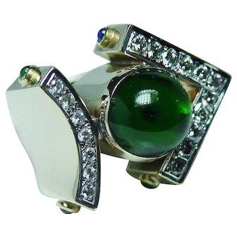 Vintage Diamond Tourmaline Sapphire Emerald Ruby 14K Gold Ring Estate