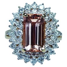 Imperial Topaz Marquise Diamond 18K Gold Ring GIA Appraisal