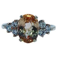 Vintage Precious Yellow Topaz Diamond Ring 18K Gold