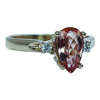 Vintage Diamond Peach Imperial Topaz 3 stone Ring 14K Gold Estate Size 9
