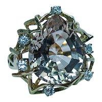 Vintage Diamond 16ct Precious Topaz Ring 18K Gold Estate Large Heavy GIA Appraisal