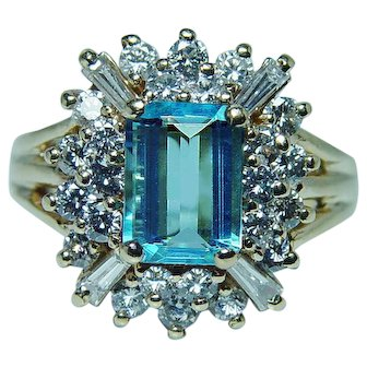 Blue Topaz Baguette Diamond Halo Ring 14K Gold