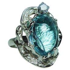 Vintage Fancy Topaz Diamond Ring 14K Gold Estate Jewelry Heavy 17ct
