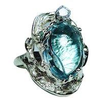 Vintage 17ct Fancy cut Topaz Diamond Ring 14K Gold Heavy