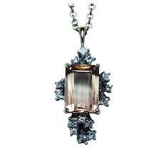 Vintage  Imperial Topaz Princess Diamond Necklace 14K White Gold 4.3ct