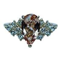 Vintage Diamond Peach Imperial Topaz Ring 18K Gold Designer Signed Estate