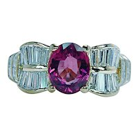 Vintage Asscher Carre Baguette Diamond Pink Tourmaline Rubellite Ring 18K Gold Designer