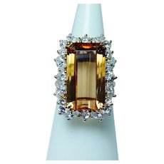 Krementz 12ct Imperial Topaz Marquise Diamond Ring 18K Gold GIA Cert