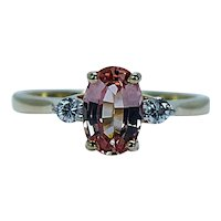 Vintage Diamond Peach Imperial Topaz 3 stone Ring 18K Gold Estate