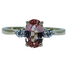 Vintage Diamond Peach Imperial Topaz 3 stone Ring 18K Gold Estate