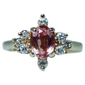 Vintage Diamond Imperial Topaz Ring 18K Gold Estate Designer Martin Flyer