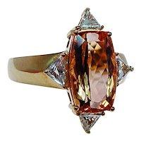 Tal Azulay Cushion Imperial Topaz Trillion Diamond Ring 18K Gold Estate Designer 7.7ct