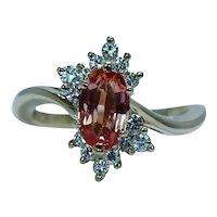 Vintage Diamond Imperial Topaz Ring 18K Gold Estate Designer