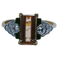 Vintage Old European Diamond Peach Imperial Topaz Ring 18K Gold Platinum Estate