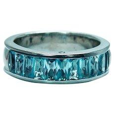H. STERN Topaz Diamond 18K White Gold Ring Band Heavy Designer Signed Size 8.5