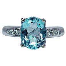 H. STERN Topaz Diamond 18K White Gold Ring Designer Signed Estate