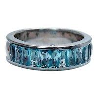 H. STERN Topaz Diamond 18K White Gold Ring Band Heavy Designer Signed