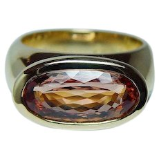 H. STERN Imperial Topaz Diamond 18K Gold Ring Designer