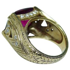 Vintage Rubellite Tourmaline Diamond 18K Gold Heavy Ring Estate 8ct