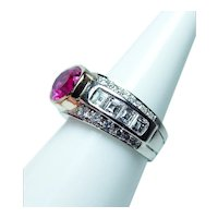 Vintage 18K Gold Asscher Carre Diamond Pink Tourmaline Ring VS-G 1.80ct Estate