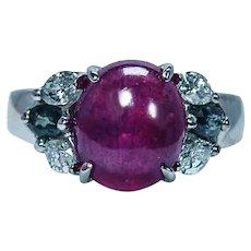 Vintage Red Tourmaline Alexandrite Diamond Ring 14K White Gold Estate