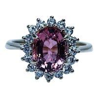 Vintage Peach Tourmaline 14K Gold Diamond Halo Princess Diana Ring