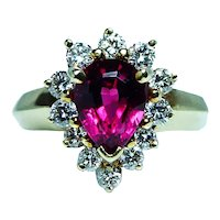 Vintage Rubellite Tourmaline Gem Diamond Halo Ring 18K Gold