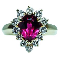 Vintage Rubellite Tourmaline Gem Diamond Halo Ring 18K Gold