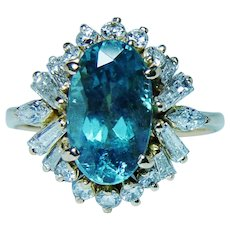 18K Gold Blue Tourmaline Marquise Baguette Diamond Ring
