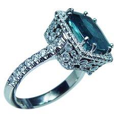 Vintage 18K White Gold Indicolite Blue Tourmaline Diamond Ring Estate