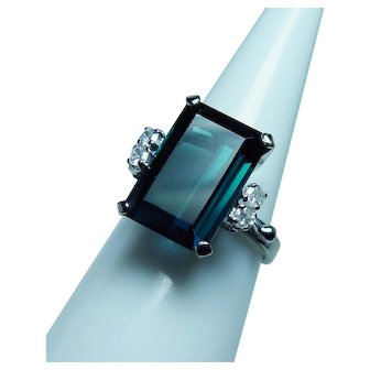 7ct Blue Indicolite Tourmaline 18K White Gold Diamond Ring