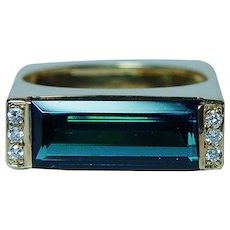 Boris Le Beau Indicolite Blue Tourmaline 18K Gold Diamond Ring
