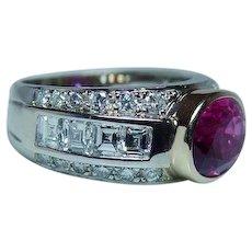 18K Gold Asscher Diamond Pink Tourmaline Ring VS-G 1.80ct