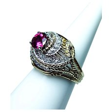 18K Gold Old Miner Mine cut Diamond Pink Tourmaline Ring