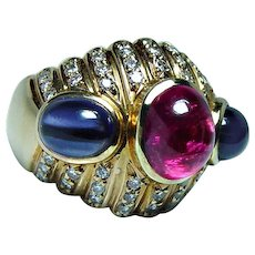 Tourmaline Iolite 18K Gold Diamond Ring Designer