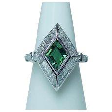 Vintage Tourmaline VVS-F Baguette Trillion Diamond Ring Platinum Estate