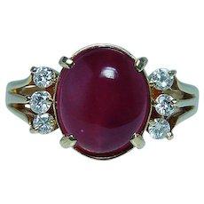 Vintage 18K Gold Diamond Tourmaline Ring Estate