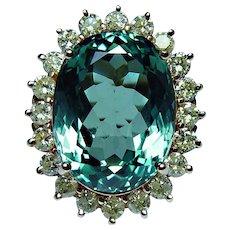 Vintage 20ct Green Tourmaline Yellow Diamond Ring 14K Gold Heavy Giant Estate GIA
