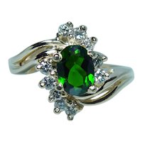 Green Tourmaline Diamond 14K Gold Ring Classic