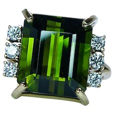 Vintage Amsterdam Sauer 8ct Tourmaline Diamond Ring 18K Gold Designer