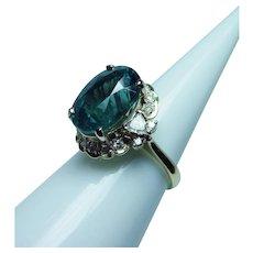 Vintage 18K Gold Indicolite Blue Tourmaline Trillion Diamond Ring Estate