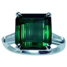Vintage Platinum Tourmaline Baguette Diamond 3 stone Ring Estate 8.5ct