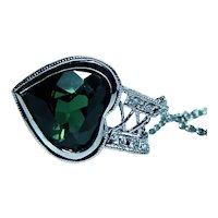 Vintage Platinum Tourmaline Heart Diamond Etched Necklace