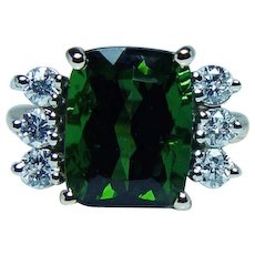 Vintage 18K Gold Cushion Tourmaline Diamond Ring Estate High Quality